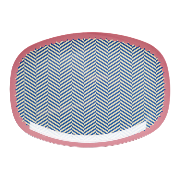 rice Melamine Plate with Sailor Stripe Print
