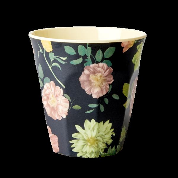 Melamine Cup - Dark Rose Print -