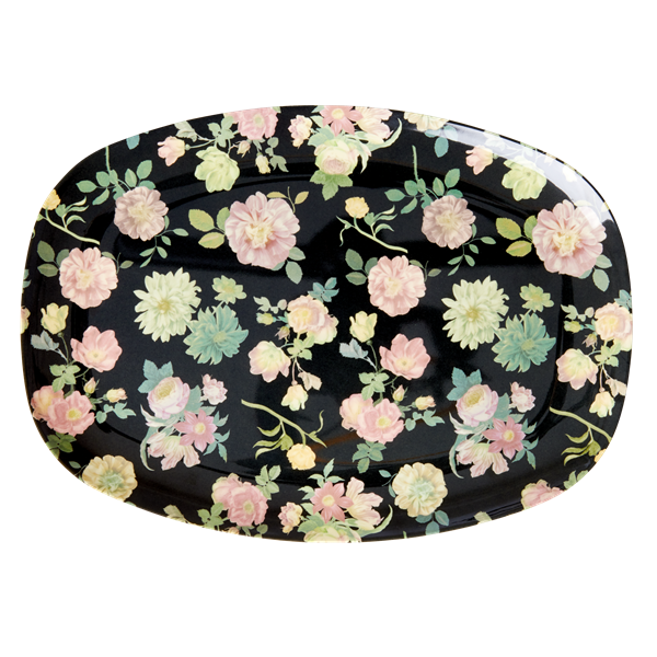 Melamine Rectangular Plate – Dark Rose Print