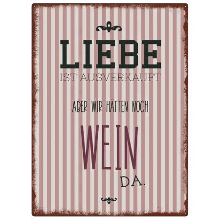 Metallschild Liebe Wein 22992