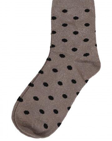 Socken grosse Lurex Punkte beige