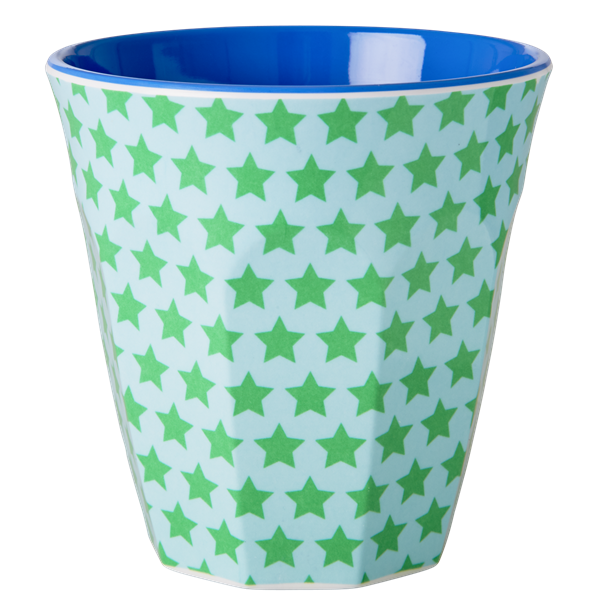 Melamine Cup with Green and Turquoise Star Print - Two Tone