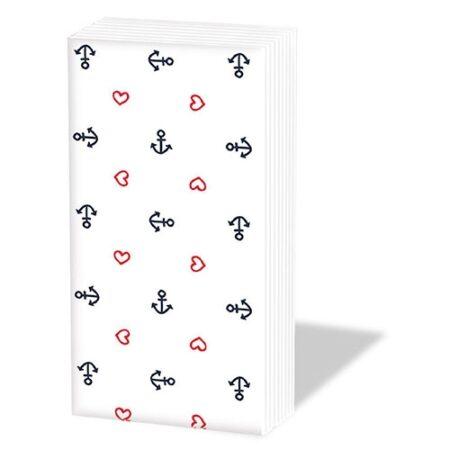 Taschentücher Anchor Hearts white